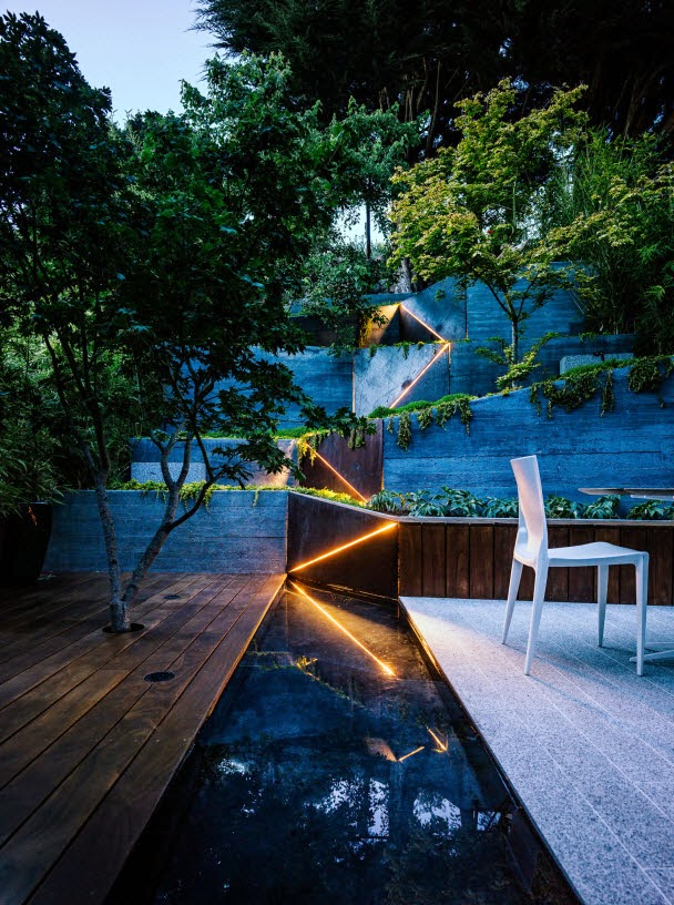Strip LED Lights are a great accent to this tiered garden in California.