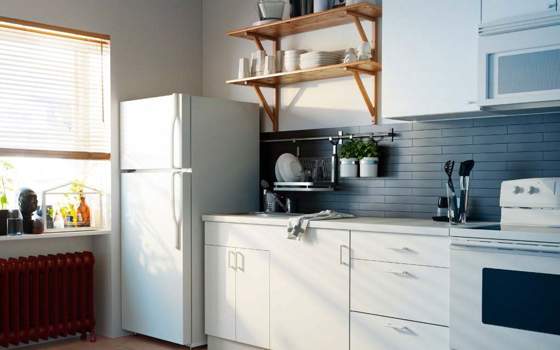 Inspirations-Modern-Kitchen-Storage-For-Your-Ideas-Decorations-Kitchen-Decorations-Exciting-Wooden-Floating-Shelves-As-Glass-Storage-At-White-Wall-Kitchen-Painted
