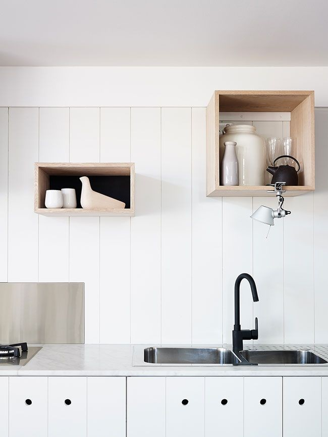interior-designs-decorations-accessories-furniture-amusing-kitchen-with-floating-fir-wooden-box-shelves-feat-white-color-wooden-wall-and-stainless-steel-undermount-sink-combine-black-iron-sing