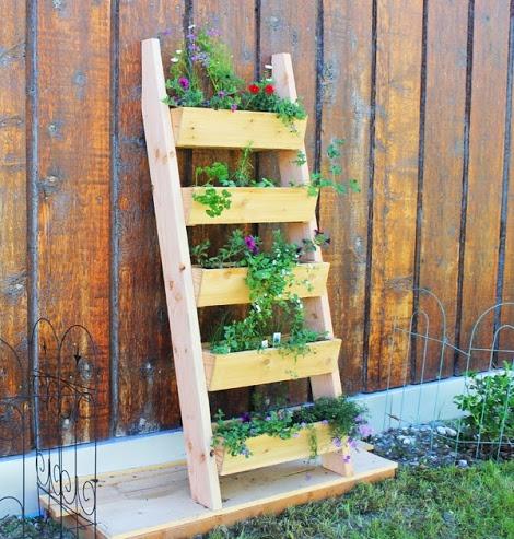 ladder planter vertical diy008