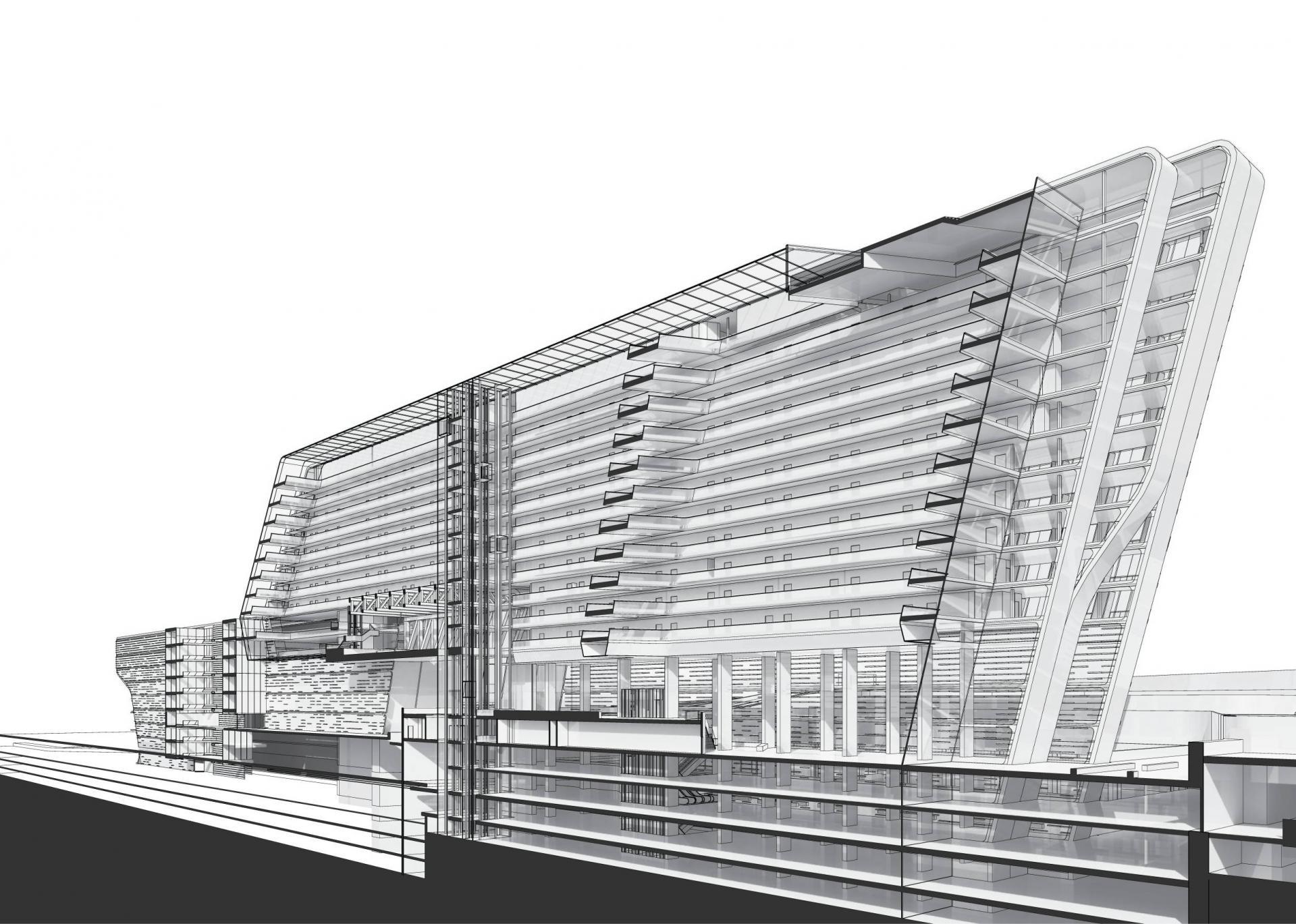 stone-towers_zaha-hadid-architects-section