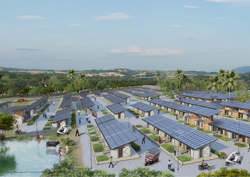 Powerhyde is a Proposed Affordable (Solar) Housing Concept for the Rural Homeless in India by BillionBricks.