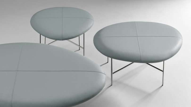 The Aire Benches Also Reference Rocks And Pebbles Of Nile But Has A Softer Leather Finish Atop Slim Steel Legs