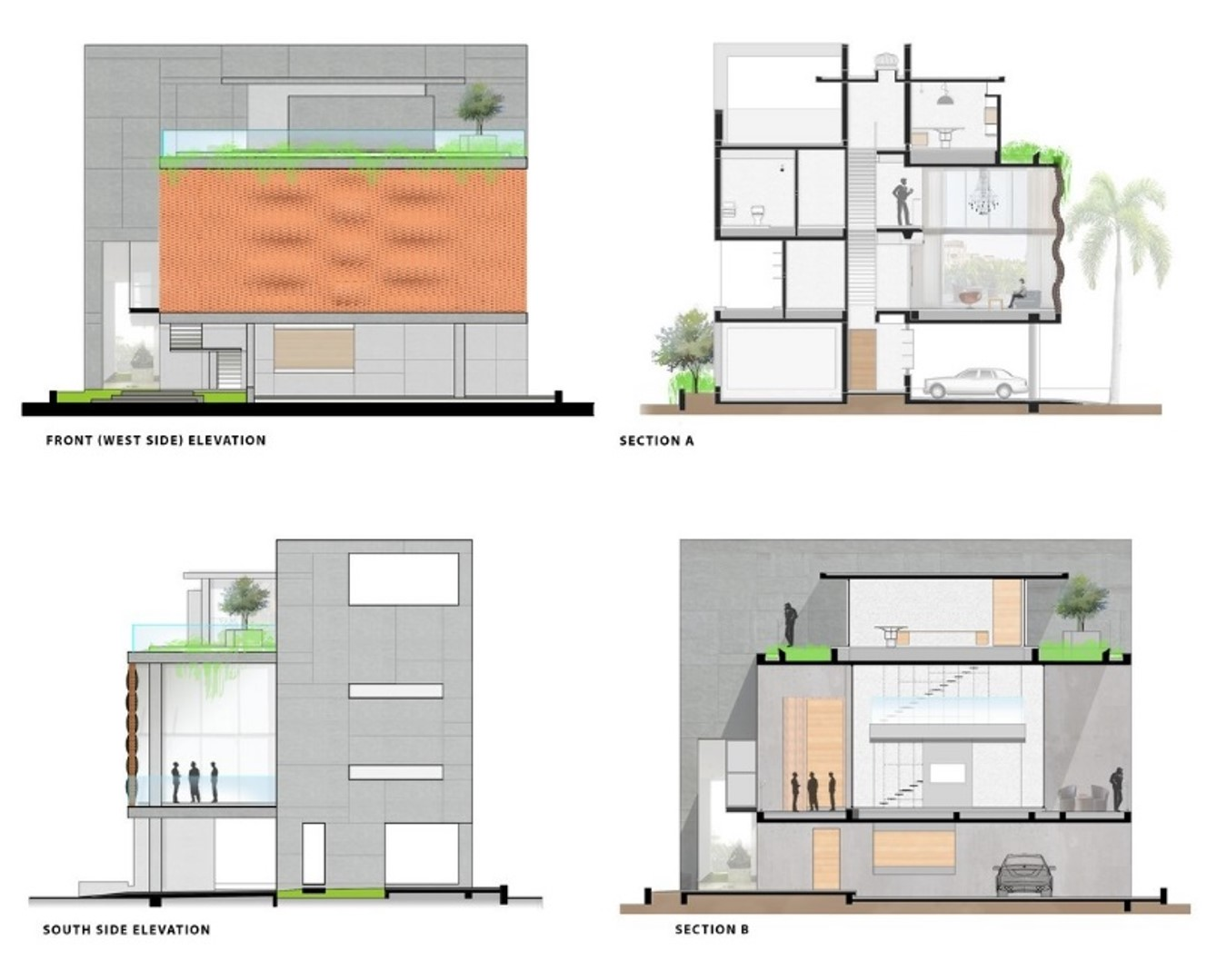 Front Elevation Design Work : The brick curtain house in india by design work group