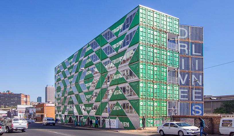 The Striking Facade of Angular Windows for Drivelines Studios in Maboneng, Johannesburg by Lo-Tek