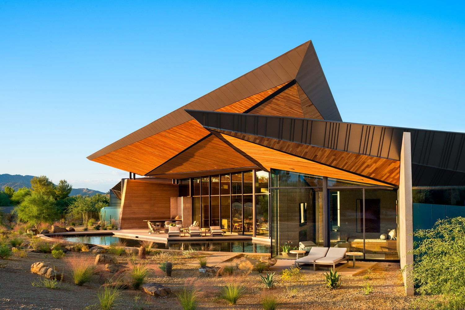 A bold, angular canopy roof for a desert home in Arizona, USA.