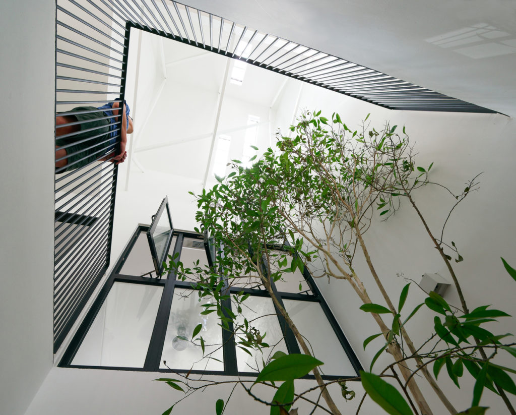 Projection Windows in Courtyard