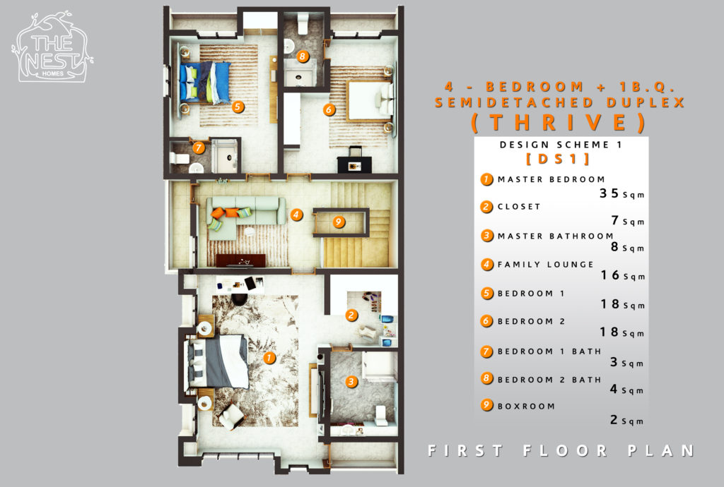4 bedroom plus 1 bq. semi detached duplex first floor plan