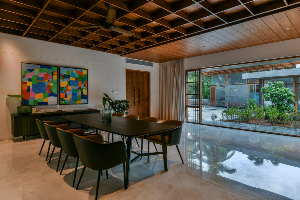 The Skew House in India by Thought Parallels features a focus on indoor-outdoor spaces