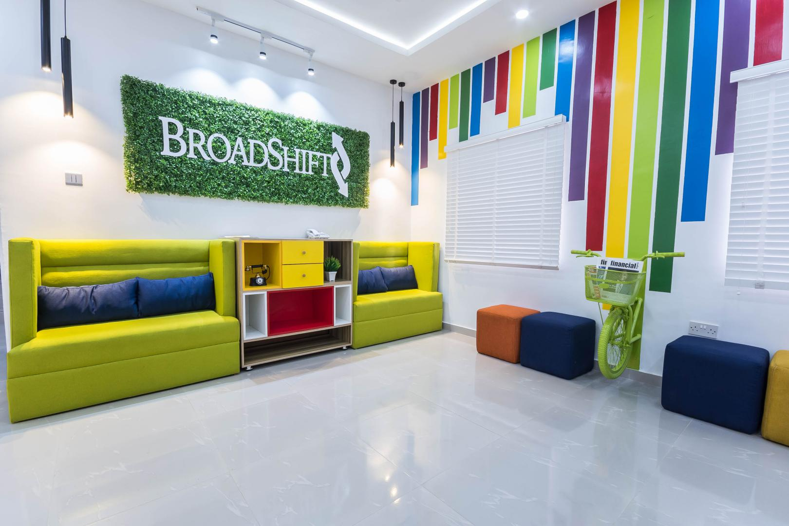 Colourful lounge at BroadShift Technologies by Maison Consulting