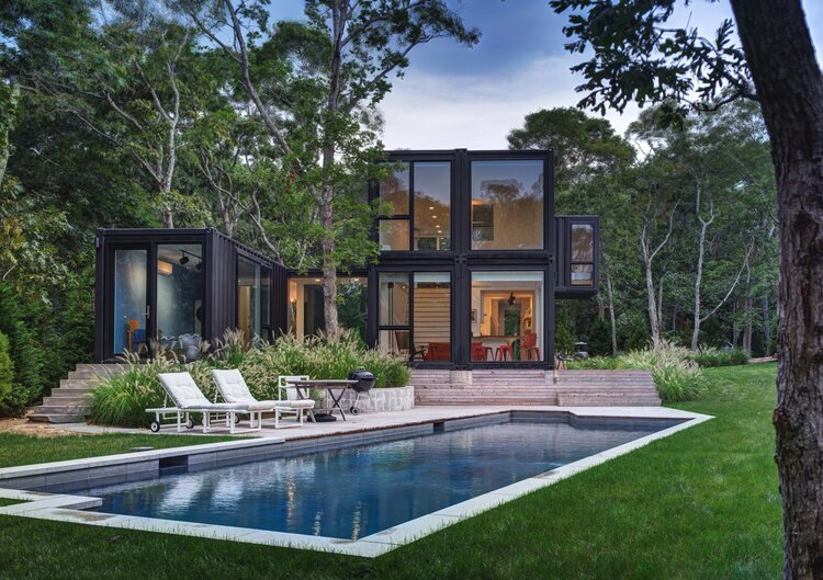 An inviting pool garden for this Modular Shipping Container Home in Manhattan by MB Architecture.