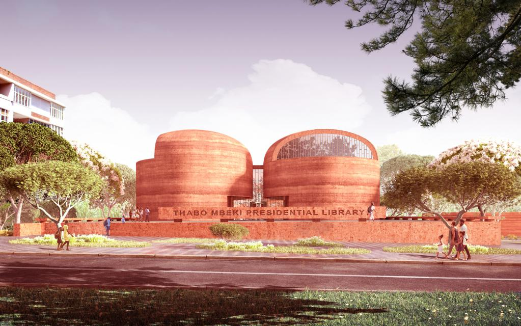 The Proposed Thabo Mbeki Presidential Library in Johannesburg, South Africa by Adjaye Associates, will be built using locally sourced, compressed mud in the form of a rammed earth facade in combination terrazzo flooring made from local stone and timber cladding from local wood species.