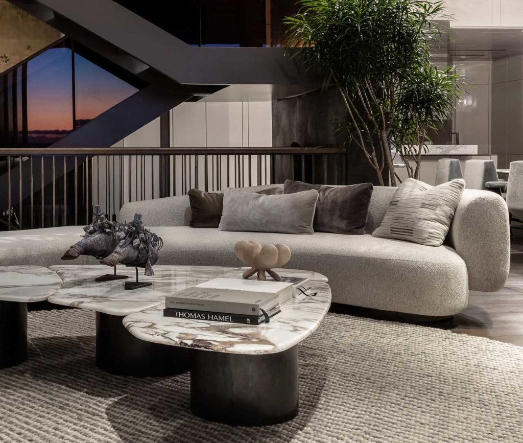 A view of the repose sofa in the South Villa Penthouse. Interior decor by ARRCC.