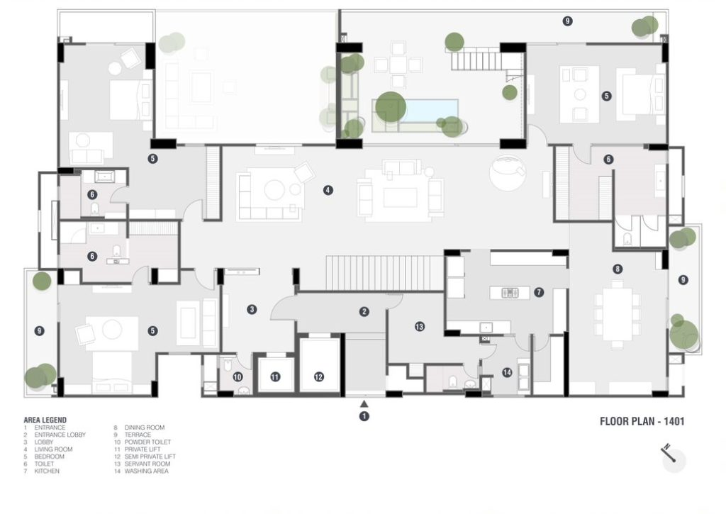Penthouse Pāfekuto: 2 High-rise Apartments refitted to house a luxury penthouse