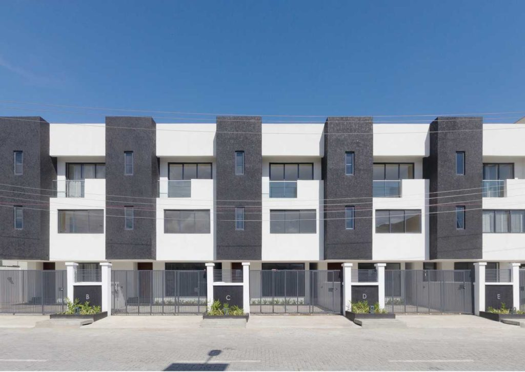 The Crest -Facade of the 4 Bedroom Terrace houses in lagos, nigeria by cmdesign atelier