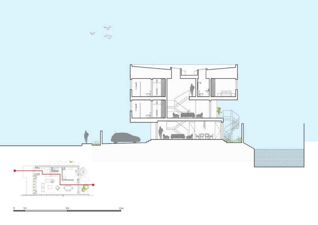 5 four-Bedroom Terrace Apartment design section