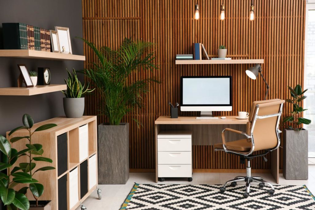Home Office with wood slat wall