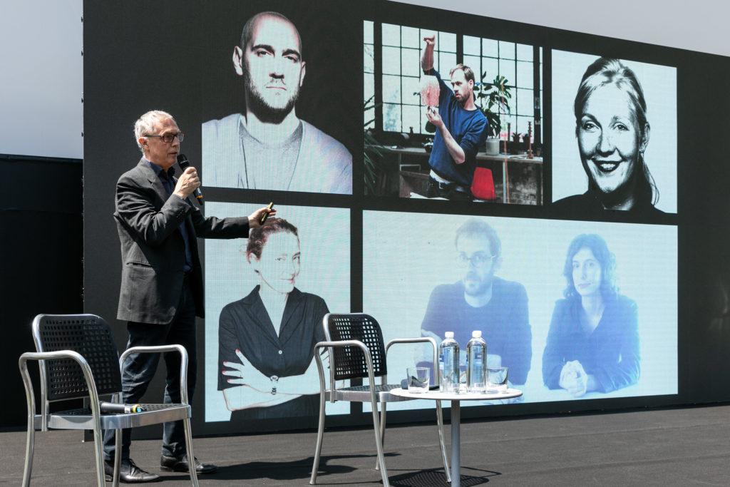 Arc. Stefani Boeri and the co-curators at press conference